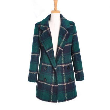 Women's Checkered Long-Sleeved Wool..