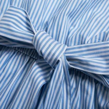 Blue Pinstriped One-Shoulder Shirt ..