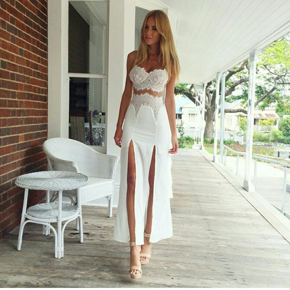 bf5bd8264b8072 White Lace Two-Piece Dress Featuring Bralette and Maxi Skirt with Slits