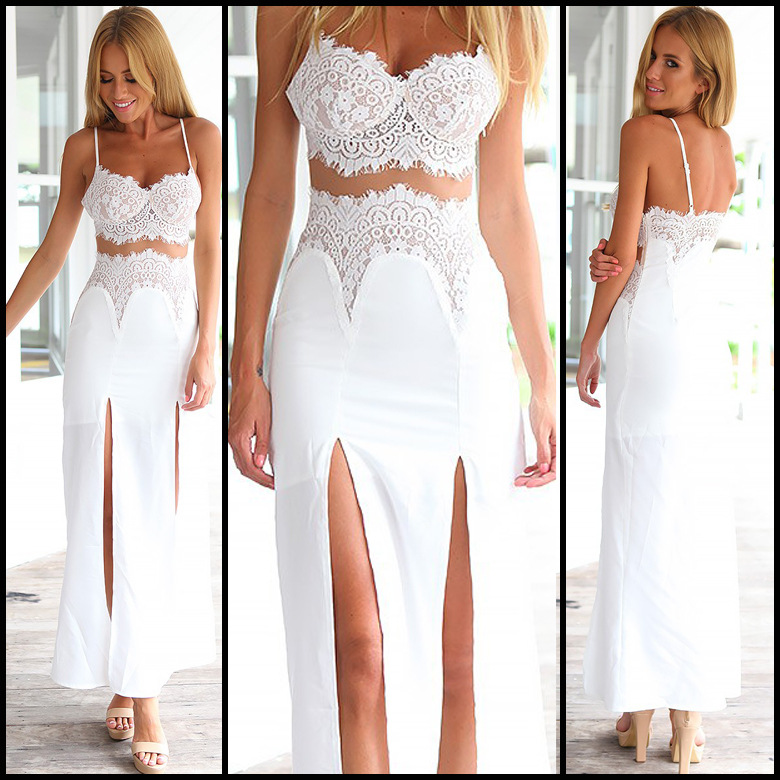 2b0eabe4370 White Lace Two-Piece Dress Featuring Bralette And Maxi Skirt With Slits on  Luulla