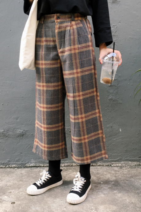 Stripe wide-legged pants